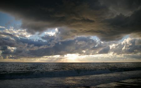 Обои море, тучи, прибой, закат