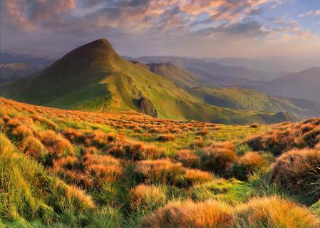 Картинки холмы, трава, облака