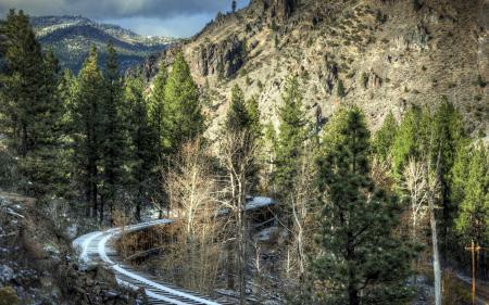Заставки горы, железная дорога, пейзаж