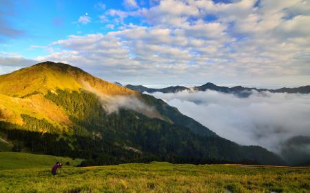 Обои холмы, зелень, облака, высота