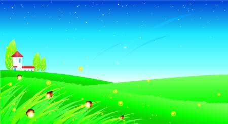 Заставки трава, бабочки, деревья, звёзды