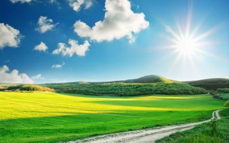 Картинки Пейзаж, небо, солнце, трава