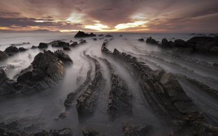 Фото закат, море, скалы, небо