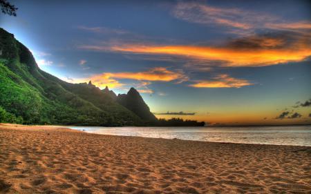 Картинки пляж, закат, горы