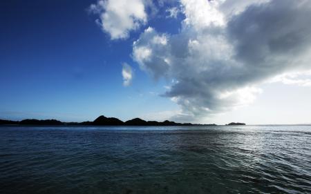 Фото холмы, вода, облака
