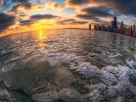 Заставки лед, вода, город