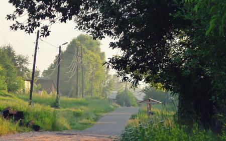 Фото деревня, село, поселок. дорога, провода