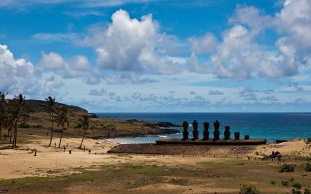 Заставки остров пасхи, идолы, истуканы, море