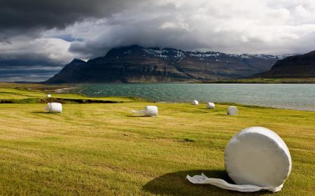 Заставки исландия, поле, сено, скалы