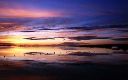 Заставки природа, пейзаж, вечер, река