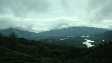 Фото долина, река, облака, деревья