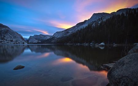 Фотографии рассвет, Tenaya Lake, горы, california