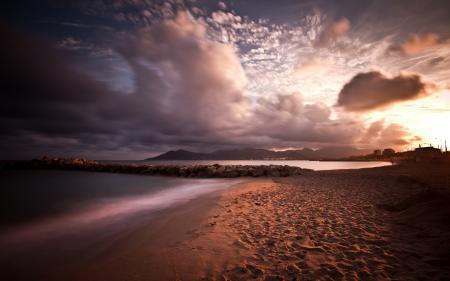 Обои закат, пляж, Песок