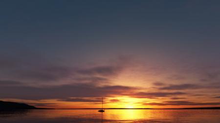 Заставки море, лодка, закат