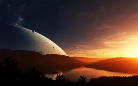 Картинки птицы, солнце, планета