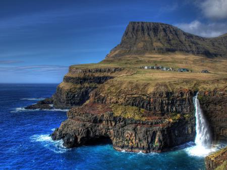 Картинки island, остров, скалы, водопад