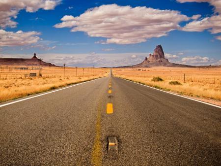 Обои дорога, аризона, небо, облака