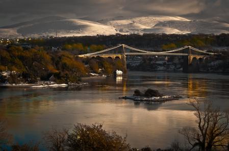 Картинки горы, река, мост, город