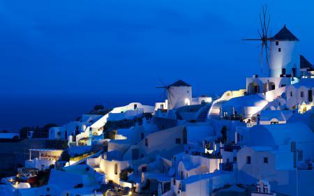 Обои Oia Windmills, греция, ночь