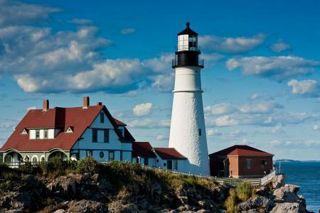 Фотографии море, маяк, скалы, дома