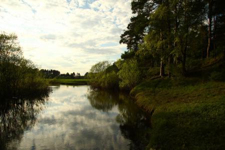 Фото пейзаж, река, лес, небо