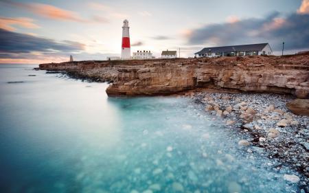 Обои море, берег, камни, маяк