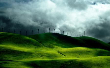 Фотографии ветряки, небо, тучи, холмы