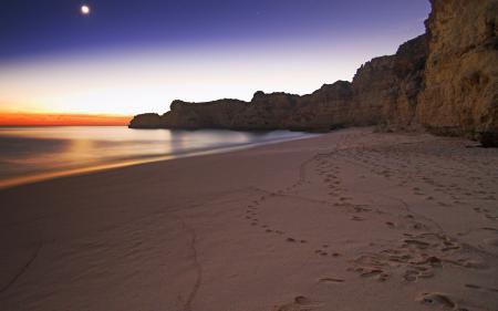 Заставки ночные пейзажи, природа, море, скала