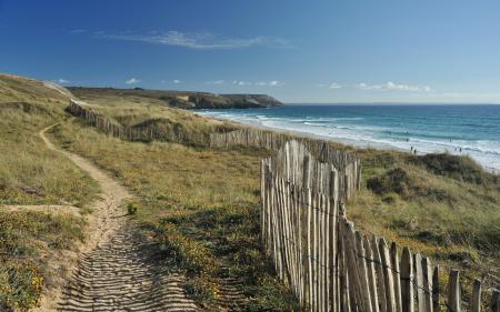 Заставки море, дорога, забор, пейзаж