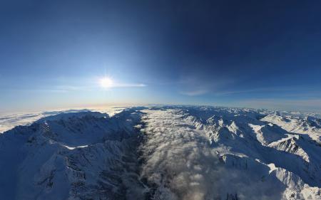 Фотографии Альпы, Солнце, небо, облака