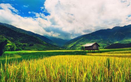 Картинки небо, дом, поле, долина