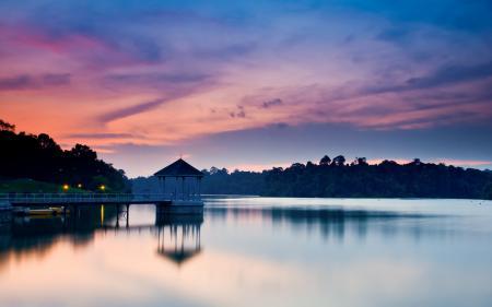Обои вечер, закат, пристань, озеро