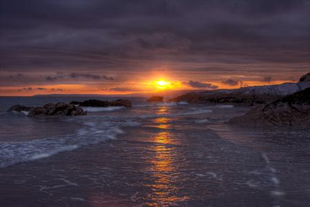 Картинки море, небо, дорожка, золотая