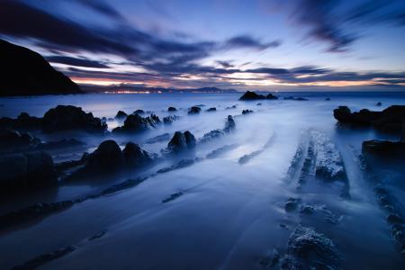 Фото синий, закат, море, камни