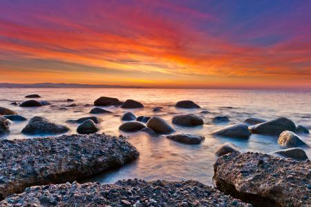 Фотографии море, небо, закат, яркий