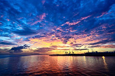 Картинки закат, море, блеск, свет
