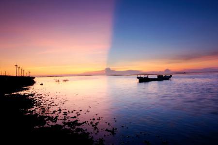 Фотографии море, небо, две, половины