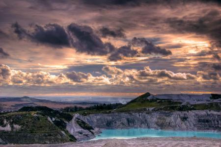 Фото небо, облака, карьер, озеро
