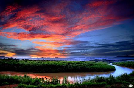 Картинки закат, вечер, река, поворот