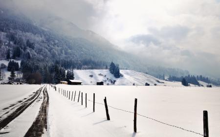 Заставки дорога, забор, зима, пейзаж