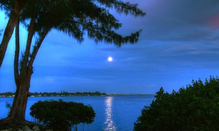 Картинки вечер, залив, вода, берег
