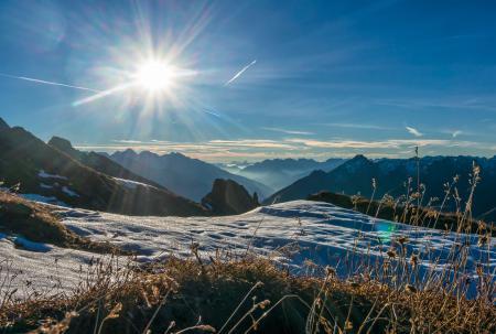 Заставки горы, вершины, снег, трава