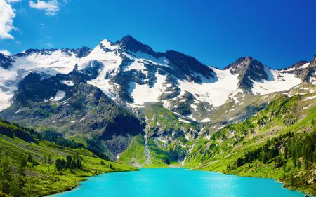 Обои горы, озеро, снег