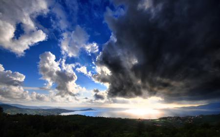 Фото природа, пейзаж, холмы, побережье