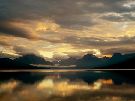 Картинки Закат, озеро, горы