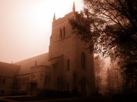 Фото замок, дом, здание, туман