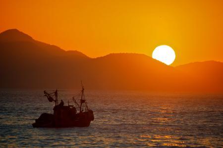 Фотографии Китай, корабль, море, закат