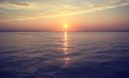 Обои Вода, река, море, закат