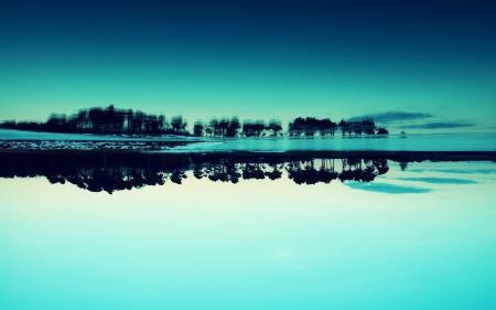 Фотографии отражение, деревья, Синий