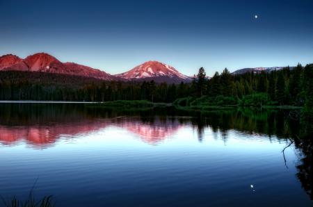 Фотографии горы, вечер, лес, озеро